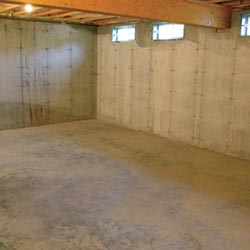 A cleaned out basement in Tonawanda, shown before remodeling has begun