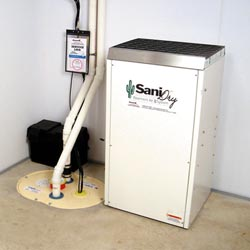 An ENERGY STAR® Rated basement dehumidifier installed in a home in Amherst