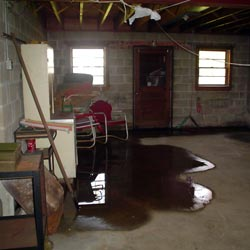 A flooded basement showing groundwater intrusion in Buffalo