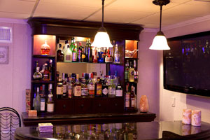 A basement bar installed in a finished basement in Clarence