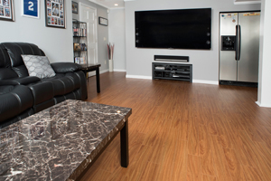 Wood-like basement flooring