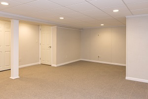 A complete finished basement system in a Lockport home
