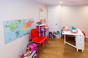 Children's playroom installed in a Amherst basement