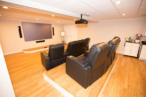 A basement turned into a home theater in Buffalo